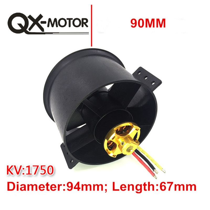 QX-MOTOR 90mm 6 Blades Ducted Fan EDF Unit With 3530 KV1750 Motor 6S Version For RC Airplane Model Plane Parts