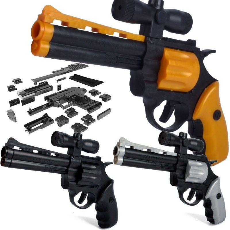 24.5cm DIY Assembled Pistol Gun Revolver Building Block Toys Gun Simulation Demolition Toy with Instructions