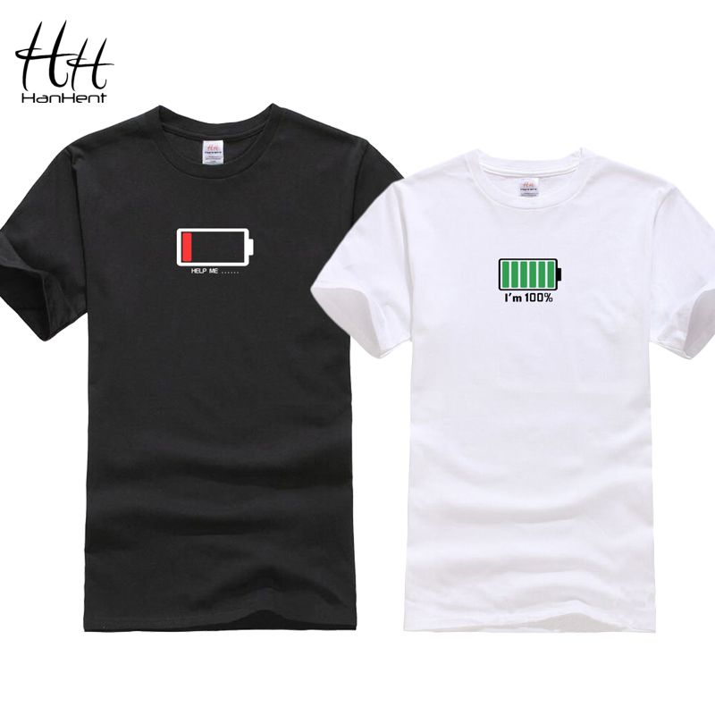 HanHent Drôle Batterie Conception 2018 T-shirt Pour Les Couples Valentine Cadeau T-shirts Amoureux de Hip Hop T-shirt homme Camisetas Chemise