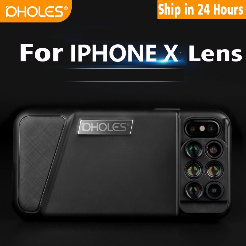 New For iPhone X Dual Camera Lens 6 in 1 Fisheye Wide Angle Macro Lens For iPhone X 10 <font><b>Telescope</b></font> Zoom Lenses +Case