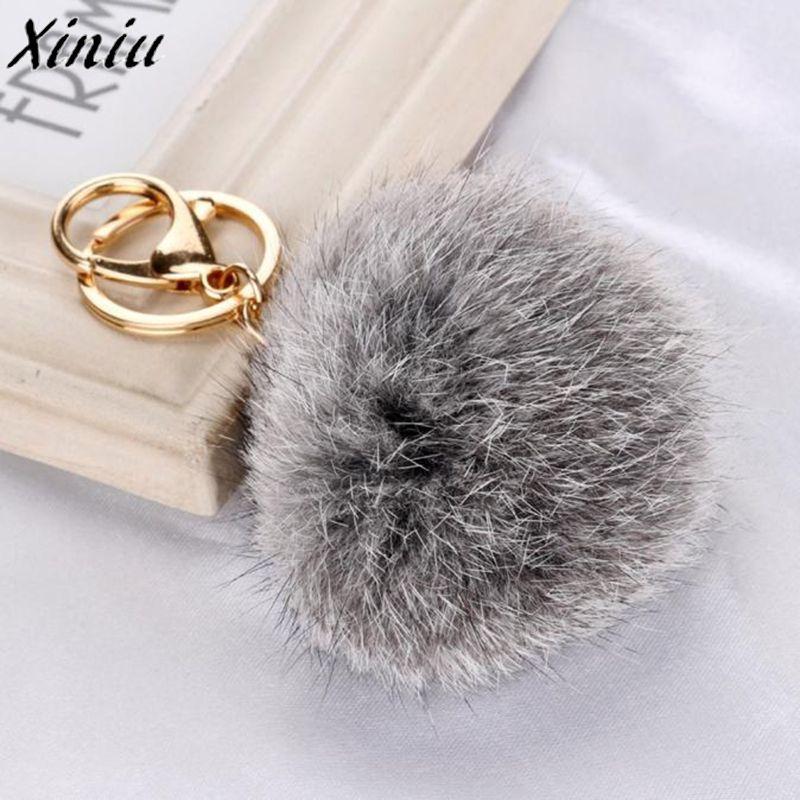 Cute Women Rabbit Fur Ball Fashion Ladies Handbags Keychain Bag Plush Backpacks Ring Gift Pendant Accessories Casual Hot Sale