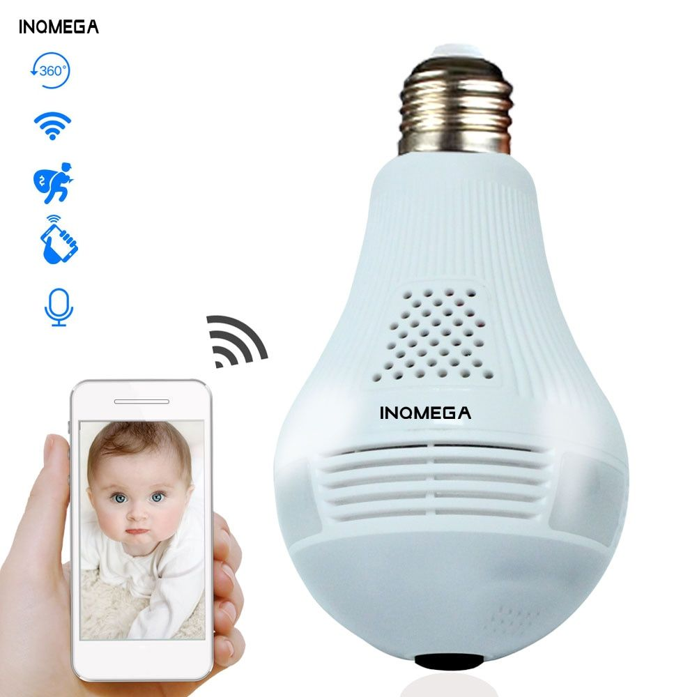 INQMEGA 360 degrés lumière LED 960P sans fil panoramique sécurité à domicile WiFi CCTV Fisheye ampoule lampe IP caméra deux voies Audio