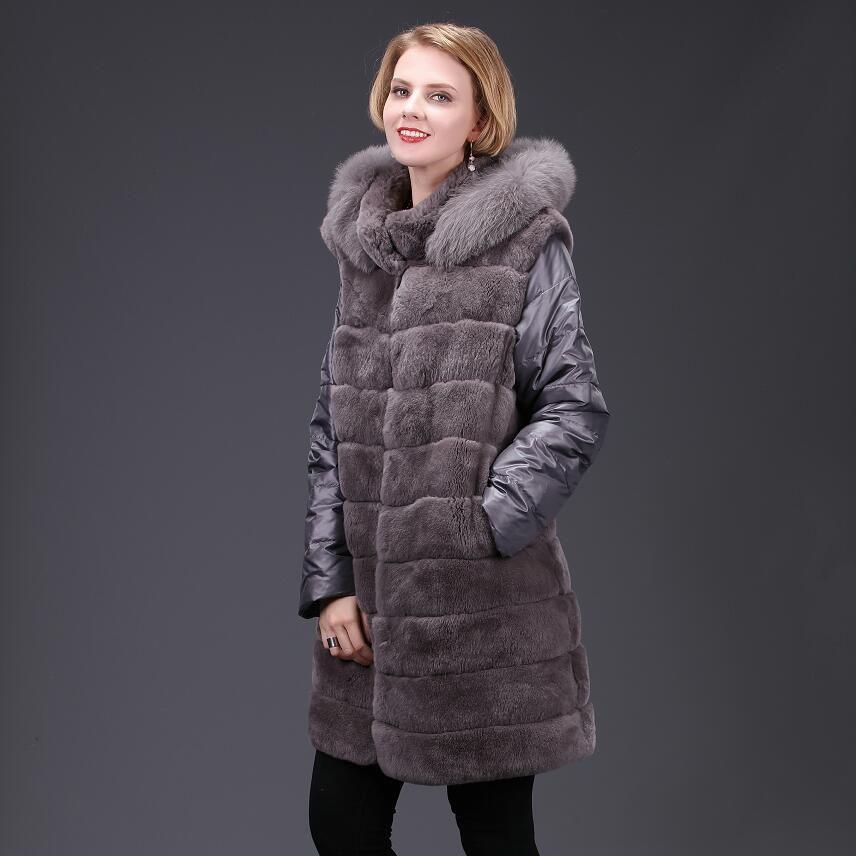 2018ladies new natural rabbit fur coat autumn winter real fur coat rabbit fur fox fur fashion casual warm European and American