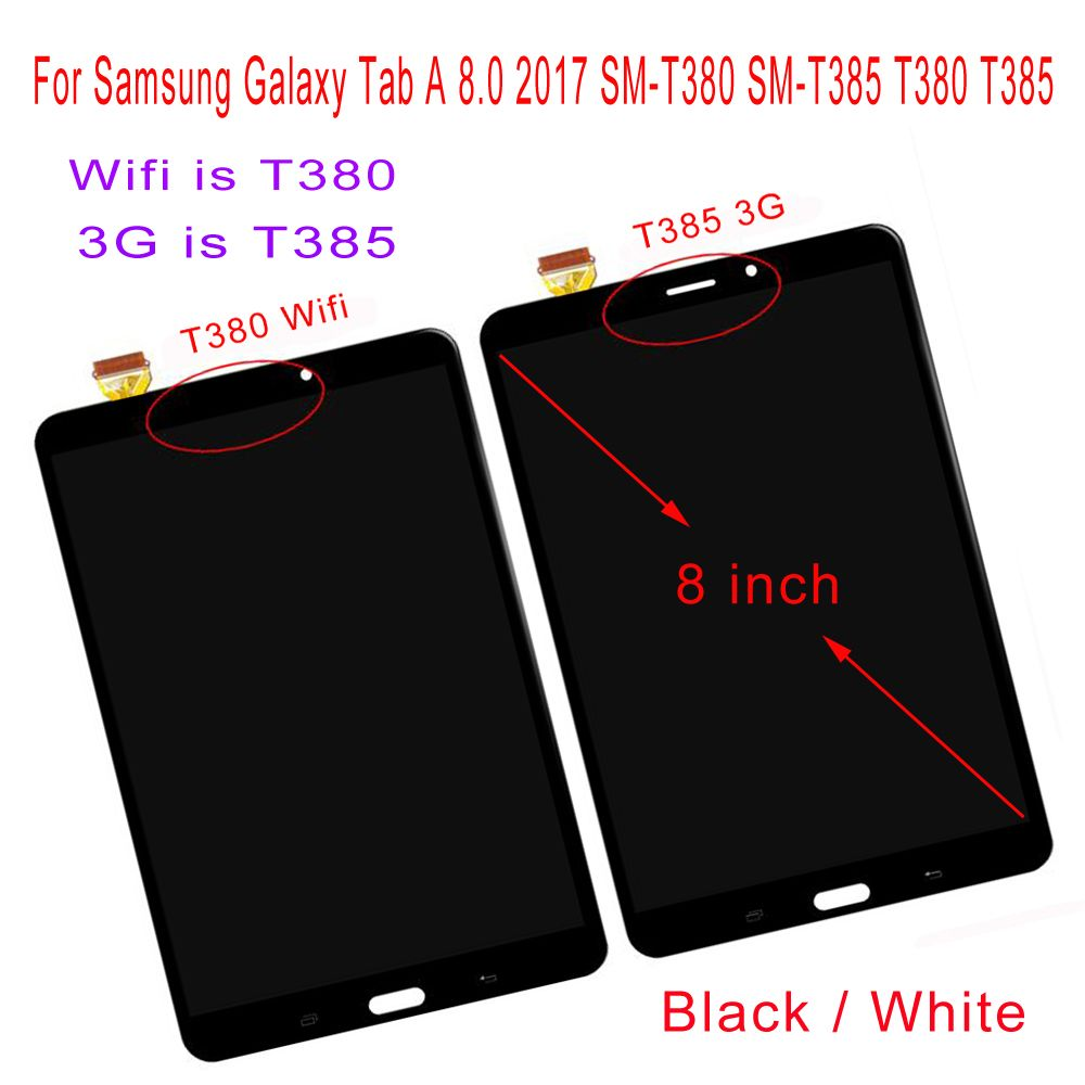 STARDE LCD pour Samsung Galaxy Tab A 2017 8.0 SM-T385 T385 3G/SM-T380 T380 Wifi LCD écran tactile numériseur assemblée 8