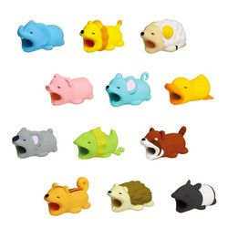 Dropshipping Kawaii Animal Cable Bite Protector for Iphone Cable Winder Panda Phone Holder Accessory Organizer Dog Cat Doll Toys