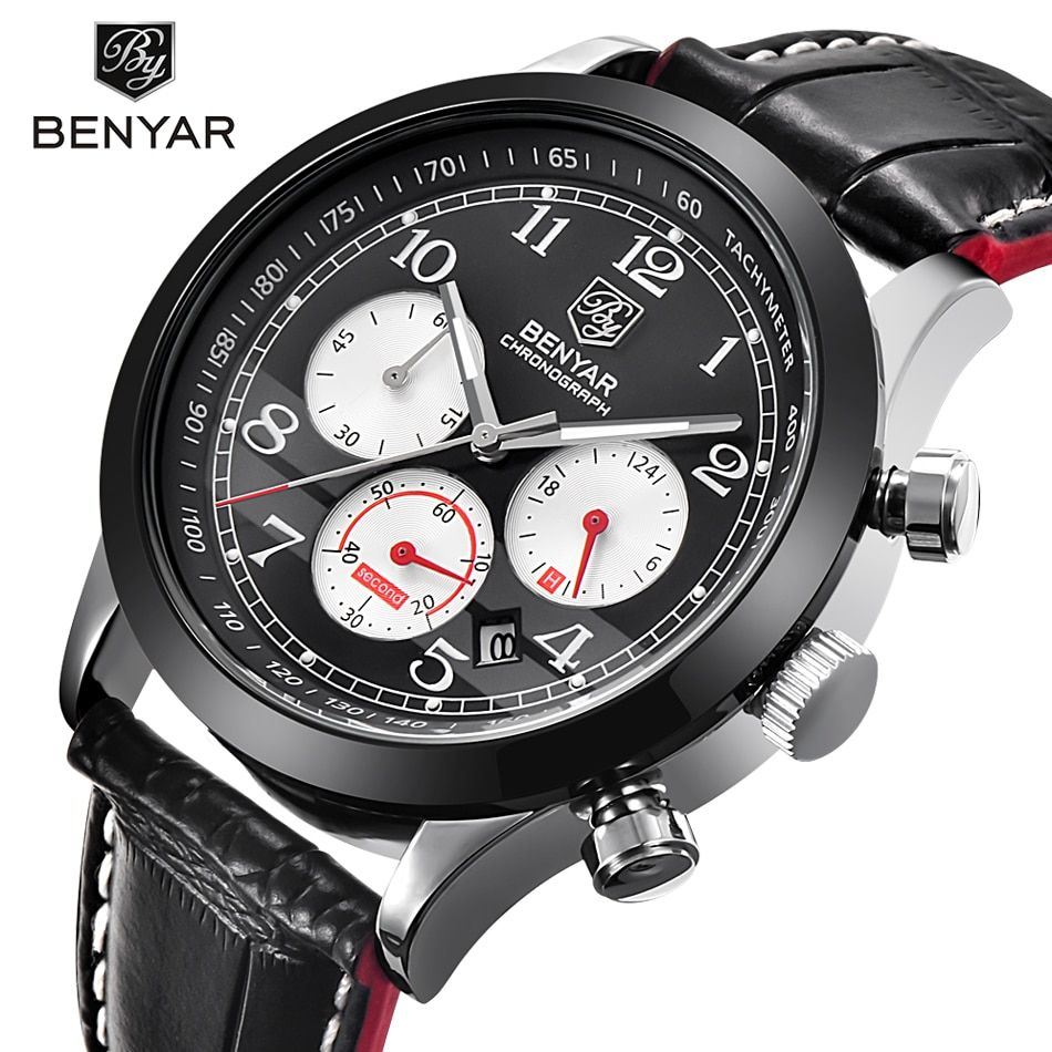 Luxury Brand BENYAR Waterproof Genuine Leather Fashion Sports Watches Men's Date Quartz Watch Men Clock Relogio Masculino 2017