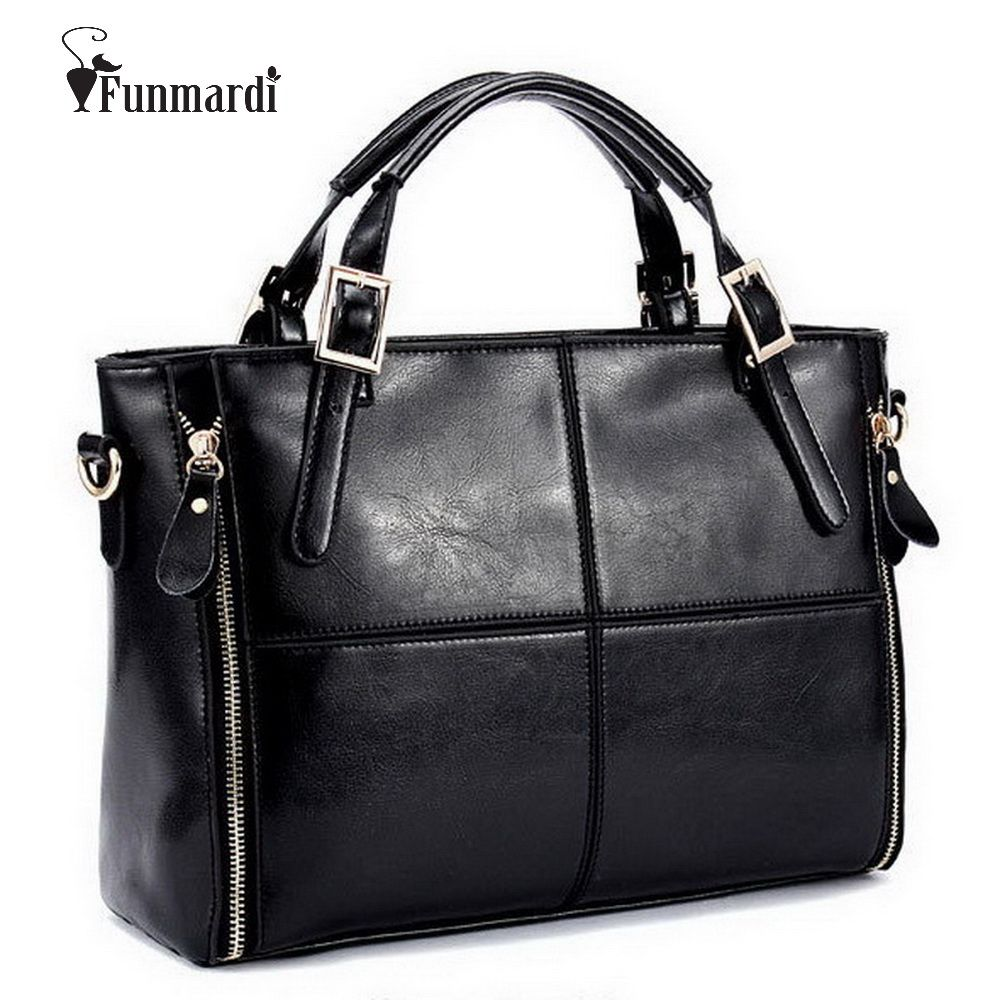 FUNMARDI Luxury <font><b>Handbags</b></font> Women Bags Designer Split Leather Bags Women <font><b>Handbag</b></font> Brand Top-handle Bags Female Shoulder Bags WLHB974
