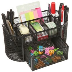 Mesh Collection Oval Supply Caddy Desktop Organizer Office Drawer with Pen Holder Collection, Black