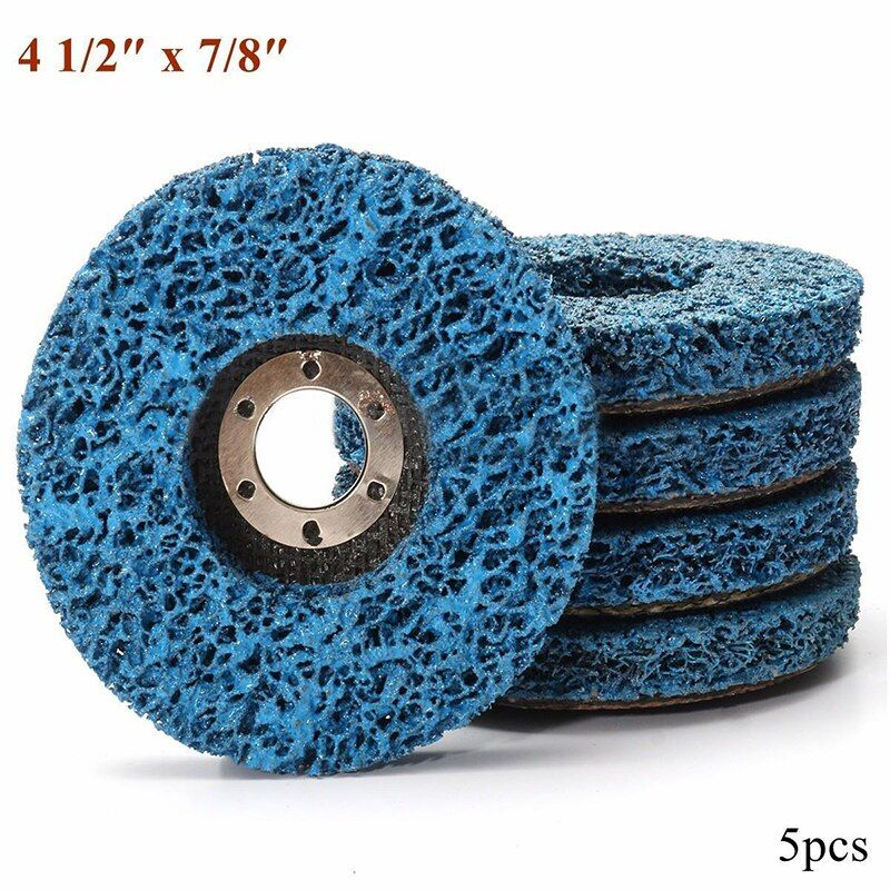 5pcs Abrasive Tools 110mm Poly Strip Wheels Paint Rust Removal Clean <font><b>Angle</b></font> Grinder Discs Blue