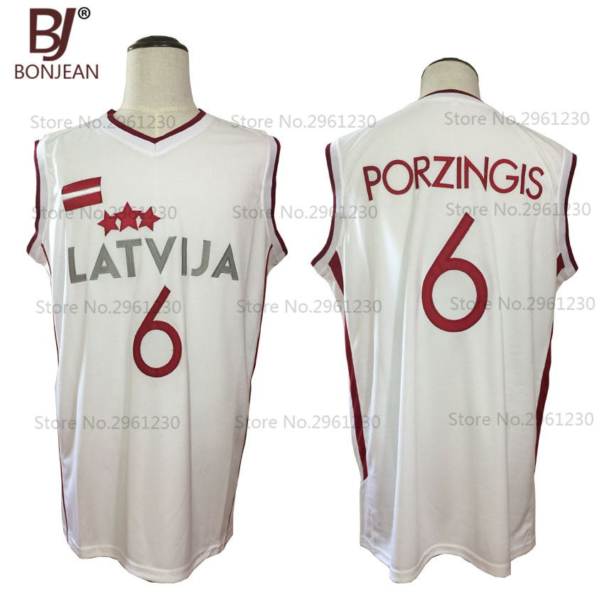 BONJEAN 2017 Mens Cheap Throwback Basketball Jersey Kristaps Porzingis 6 Latvija White Basketball Jersey Stitched Retro Shirts