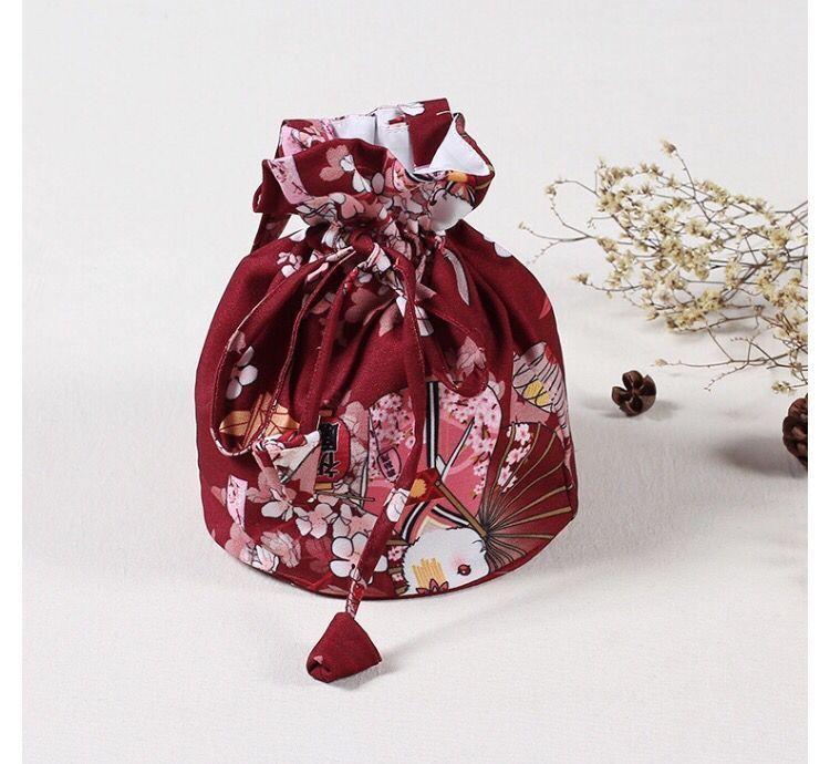 Livraison gratuite femmes Japonais Kimono Yukata Sac À Main Floral Maquillage Cordon Seau Sac 82703