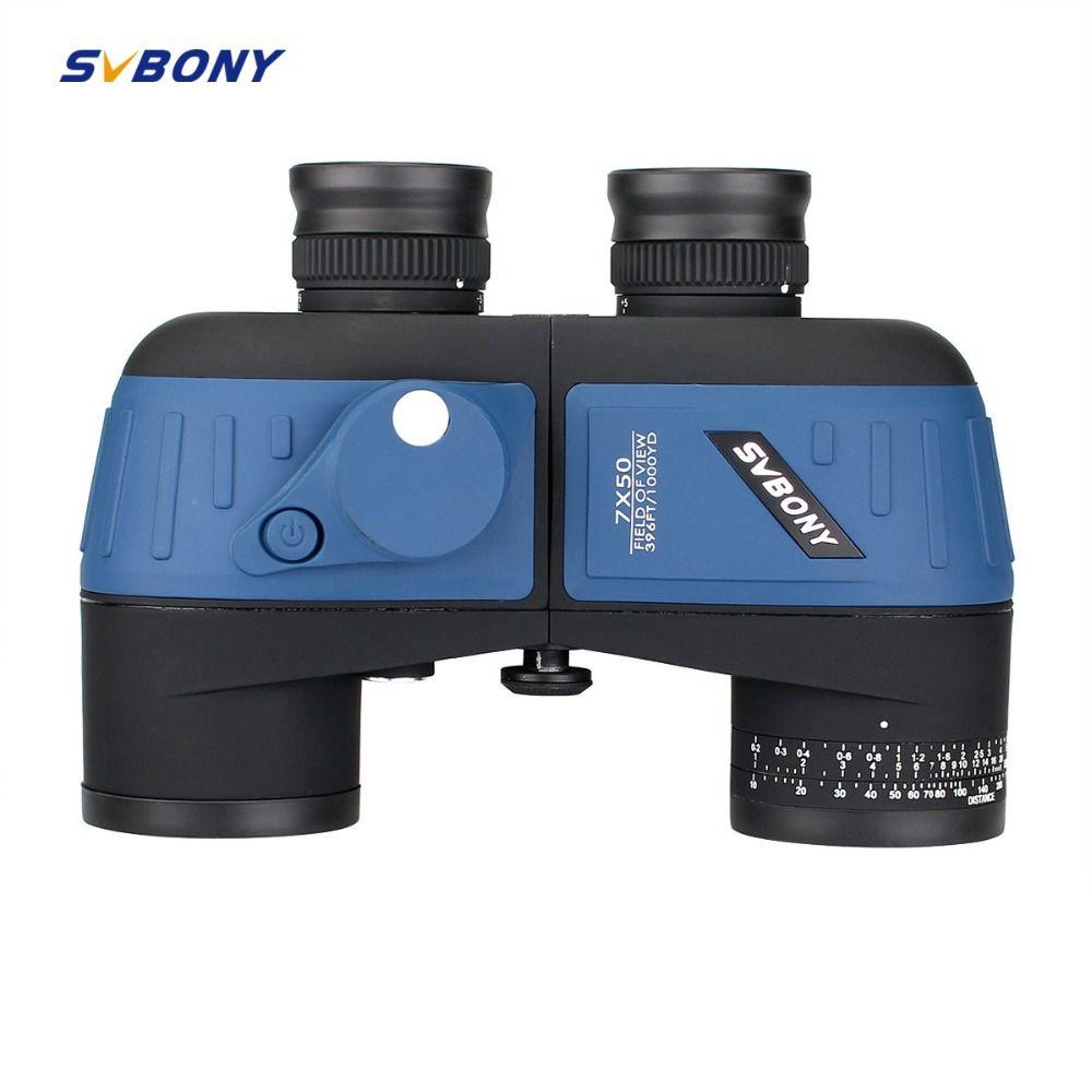 SVBONY 7x50 Binoculars Waterproof Nitrogen Floating Power Military w/Internal Rangefinder & Compass Army Green Telescope F9316