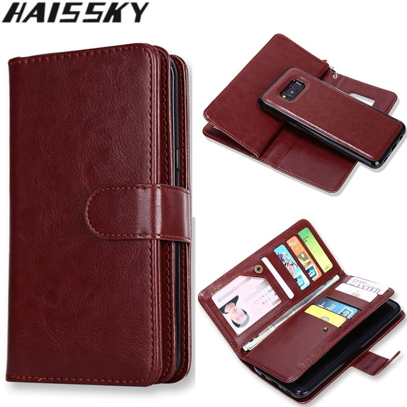 Haissky 9 Carte Slots Cas de Téléphone Pour Samsung Galaxy S8 S8 Plus S8 + S7 S6 bord S5 S4 Note 5 Note 4 Flip Cover Housse En Cuir