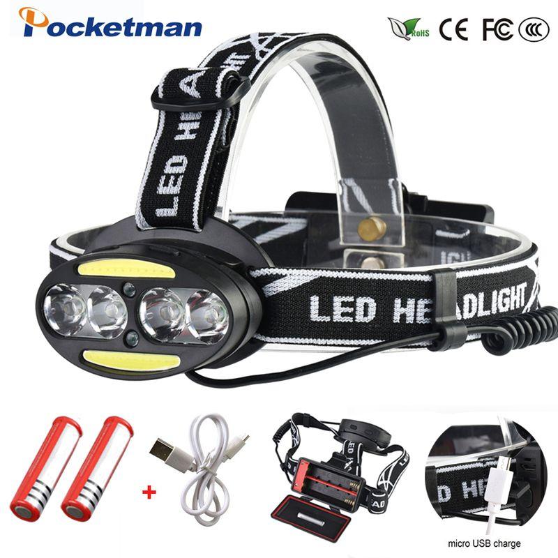 Phare 30000 Lumen phare 4 * T6 + 2 * COB + 2 * rouge LED lampe frontale lampe torche lanterne avec chargeur de piles