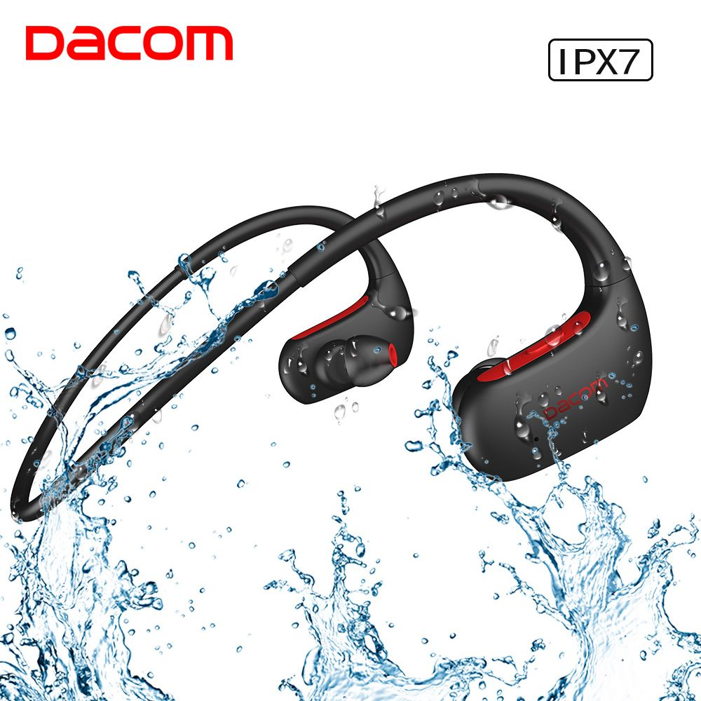 DACOM V4.1 Sport Bluetooth Headphones Wireless IPX7 Waterproof Earphone Stereo Bass Headset Hands-free with Microphone for Phone