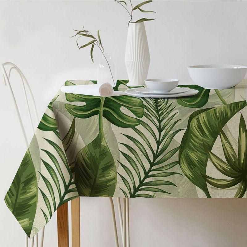 Table tissu Rectangulaire Pastorale style Tropical Plantes Imprimé Nappe Accueil Protection et décoration Élégante couverture de Table