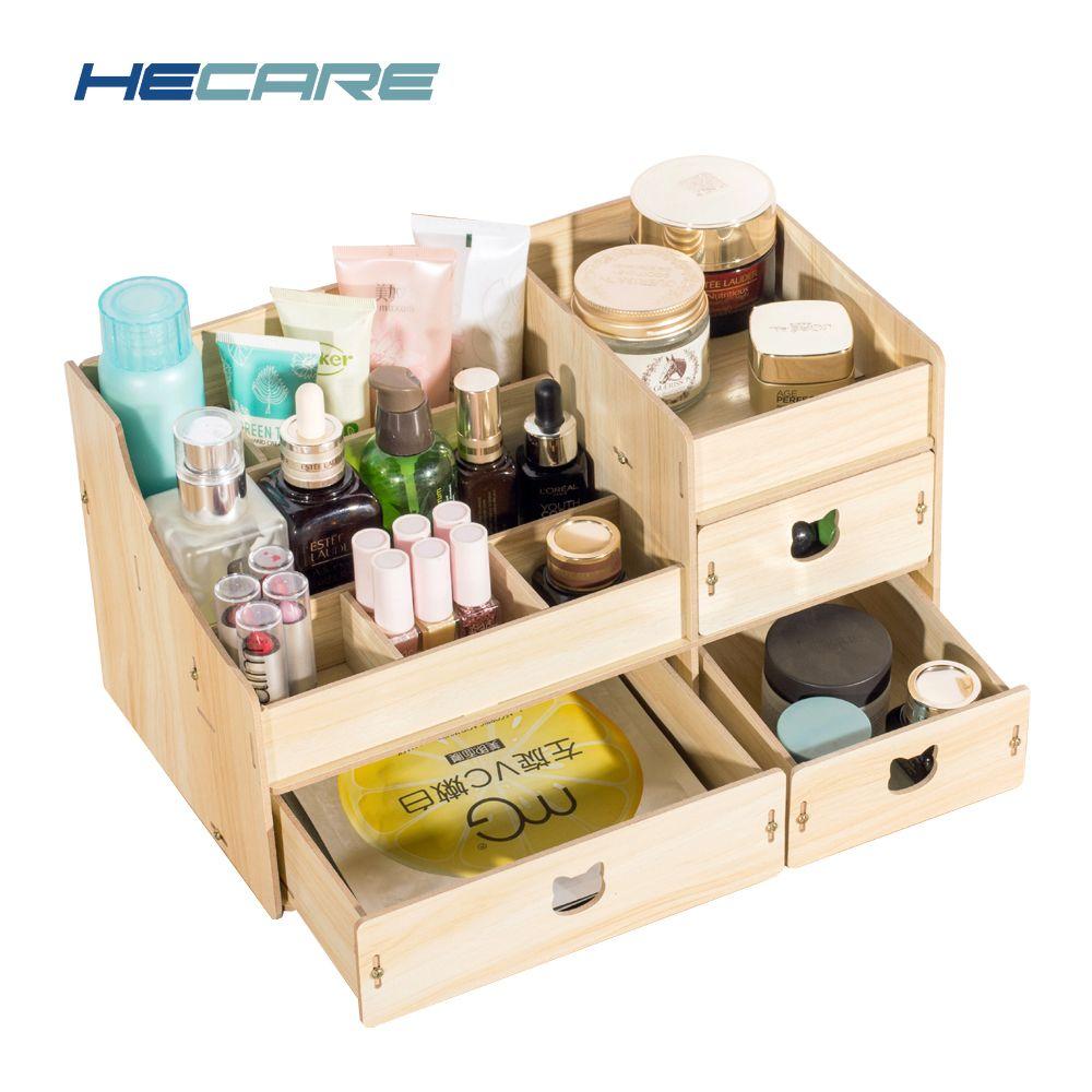 2018 New Wood Cosmetic <font><b>Organizer</b></font> Diy Assembly Wooden Organizador De Maquiagem Pink Makeup <font><b>Organizer</b></font> Drawers Factory Jewelry Box