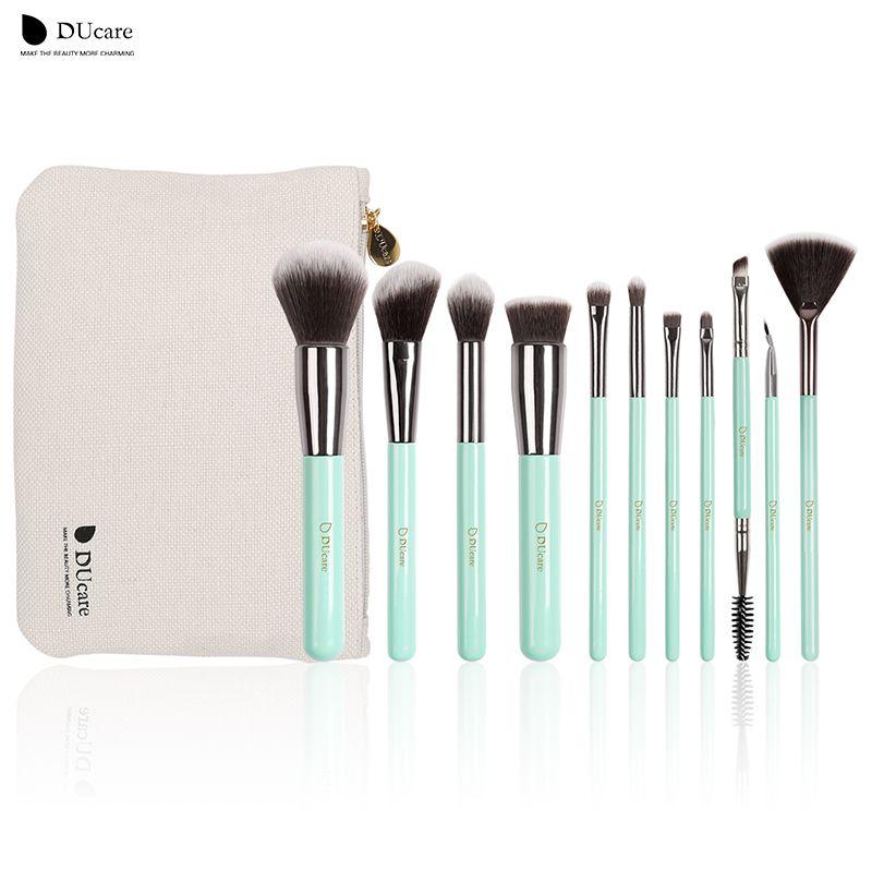 DUcare maquillage brosses 11 pcs professionnel brosses vert clair brosse set de haute qualité brosse avec sac portable pinceaux de maquillage