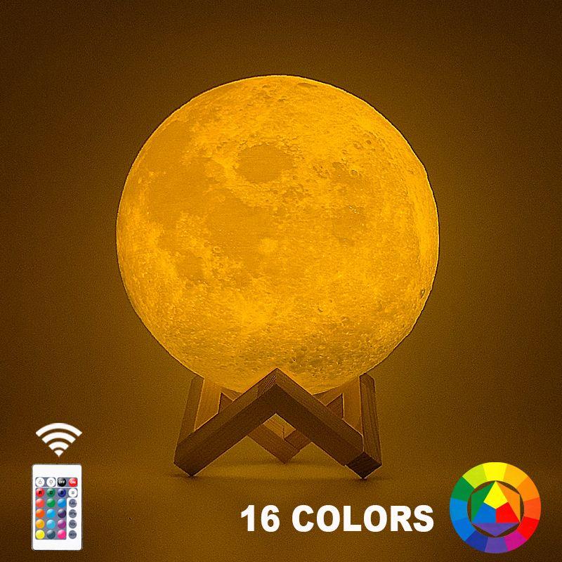 Livraison directe 3D impression lune lampe 20 cm 18 cm 15 cm coloré changement tactile USB Led veilleuse décor à la maison cadeau créatif