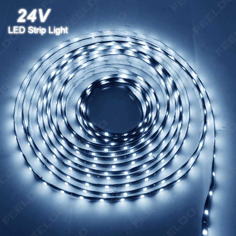 1Pc White 24V 500cm 5-Meter 3528 1210 300SMD 300 Leds Waterproof Car Truck Decoration LED Strip Light Daytime Running Lights