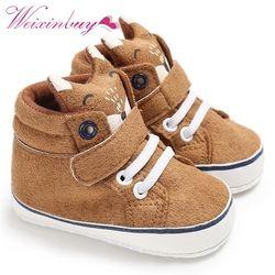 1 Paire Automne Bébé Chaussures Enfant Garçon Fille Renard Tête Dentelle Coton Tissu Premier Marcheur Anti-slip Semelle Souple bébé Baskets