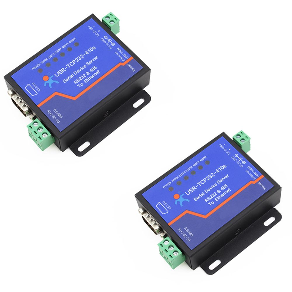 Q18039-2 2PCS USRIOT USR-TCP232-410S Terminal Power Supply RS232 RS485 to TCP/IP Converter Serial Ethernet Serial Device Server