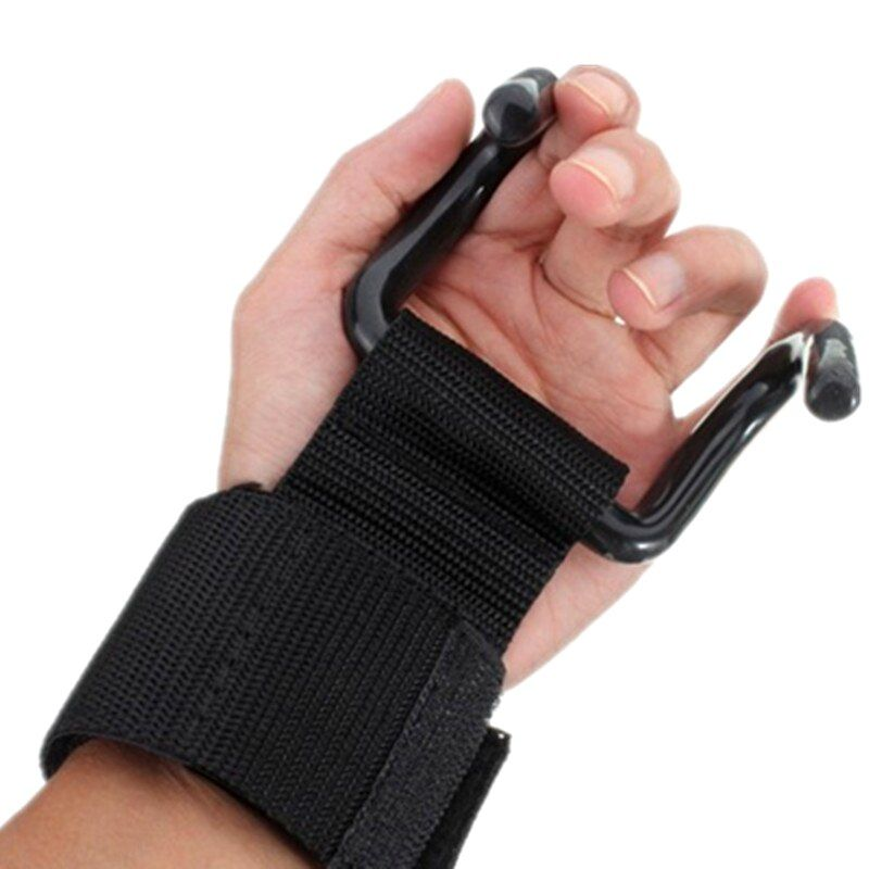 2 pcs/lot Fitness Gloves Weight Lifting Hook Training Gym <font><b>Grips</b></font> Straps Wrist Support Weights Power dumbbell hook weightlifting