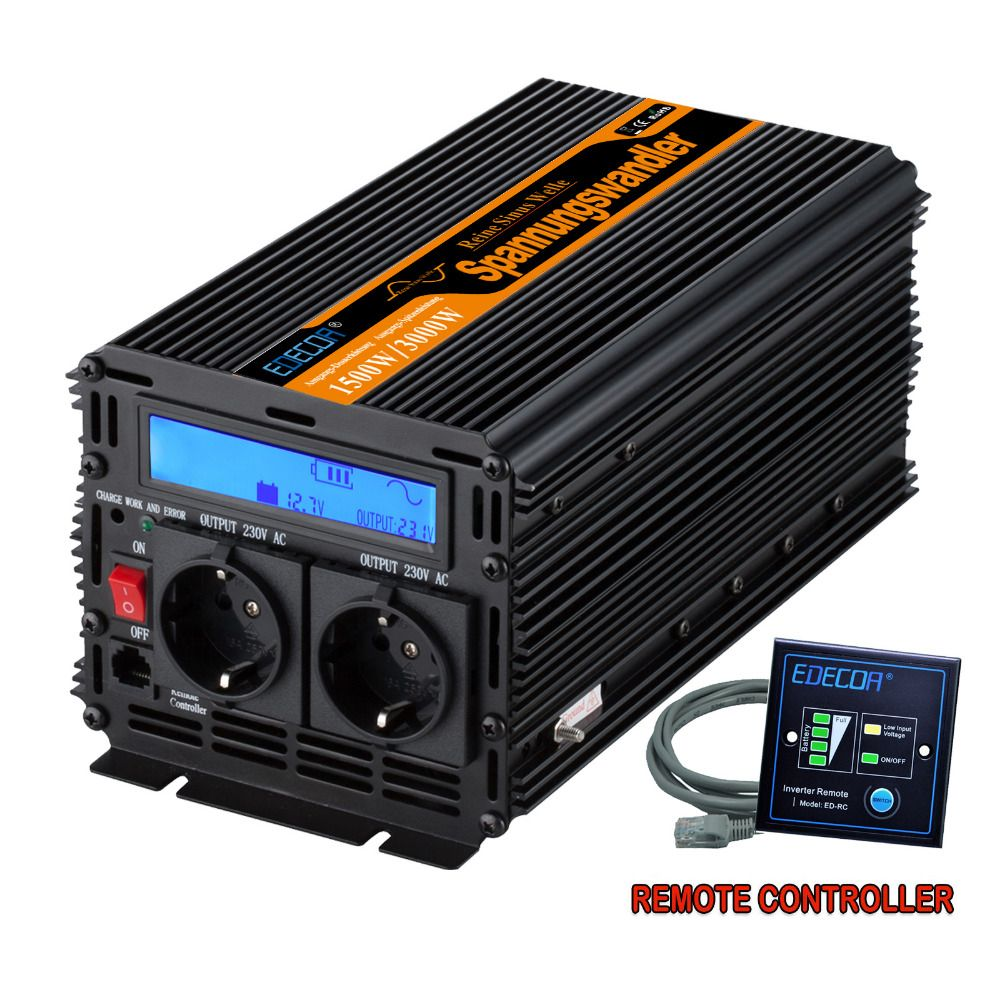 Reine sinus-wechselrichter DC12V zu AC220V 1500 watt Peak 3000 watt outdoor home schule frequenzumrichter
