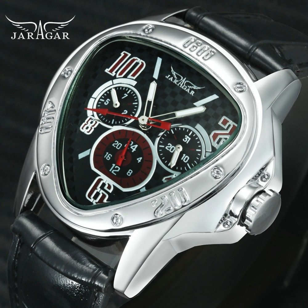 Fashion Luxury Men Automatic Mechanical Wrist Watches Top Brand WINNER Triangle Men's Watches 3 Sub-dials 6 Hands reloj hombre