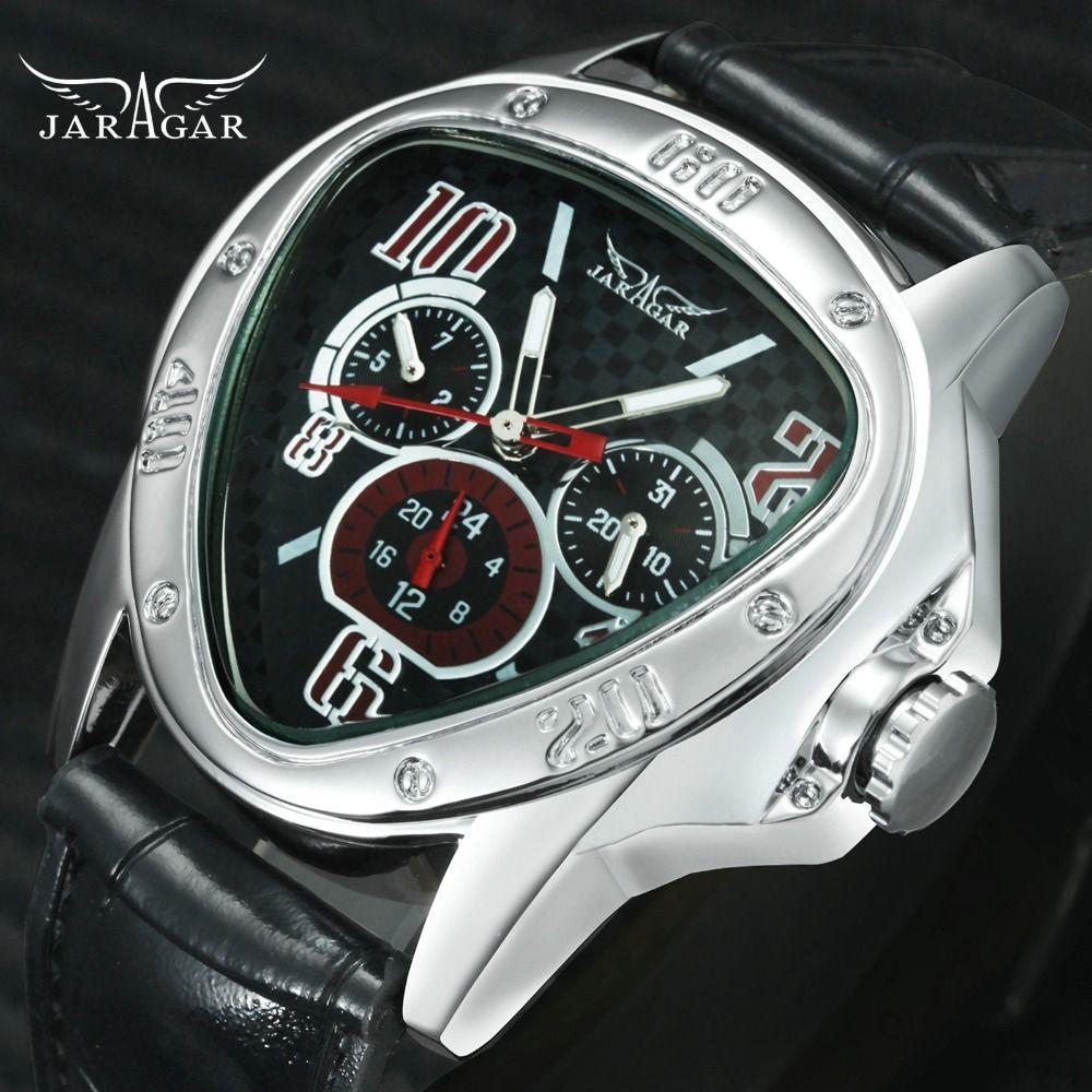 Mode luxe hommes automatique mécanique montres-bracelets Top marque WINNER Triangle montres hommes 3 sous-cadrans 6 mains reloj hombre