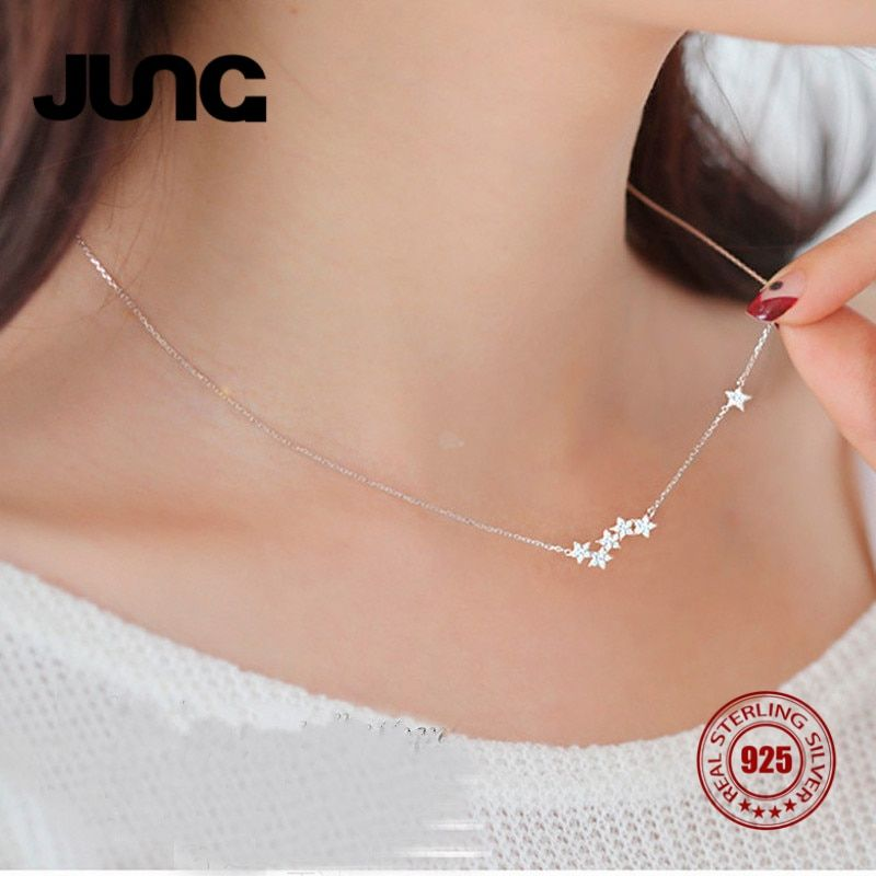 2017 Hot Fashion Simple Shine Charms 925 Sterling Silver Crystal Star Necklace Pendant Statement Jewelry For Women Free shipping