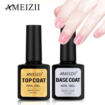 AMEIZII  Top Base Coat UV Nail Polish Gel Transparent Soak Off Long Lasting Primer Nail Art Gel Lacquer Manicure Varnish