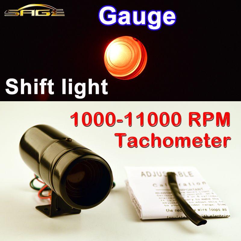 Dragon Gauge Car Gauge Adjustable 1000-11000 RPM Tacho Shift Light Tachometer Red / Blue LED Aluminum Black / Silver Shell