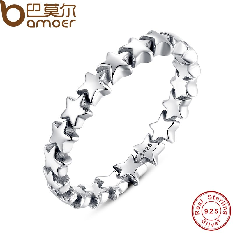 BAMOER Star Trail Stapelbar Fingerring Für Frauen Hochzeit 100% 925 Sterling Silber Schmuck 2018 HEIßER VERKAUF PA7151