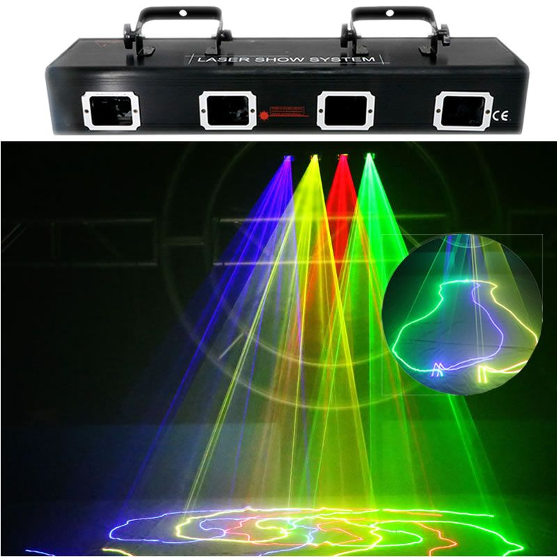 AUCD 4 Lens Red Green Blue Yellow 9 CH Beam Laser Light DMX Professional DJ Party Show Club Holiday Bar Stage Lighting 505