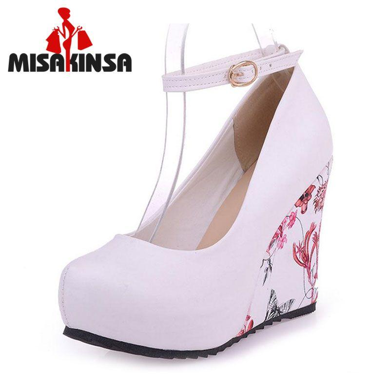 MISAKINSA Fashion Ankle Strap High Wedges Platform Summer Pumps Women Casual Flower Print Wedge Platform Shoes Size 33-43