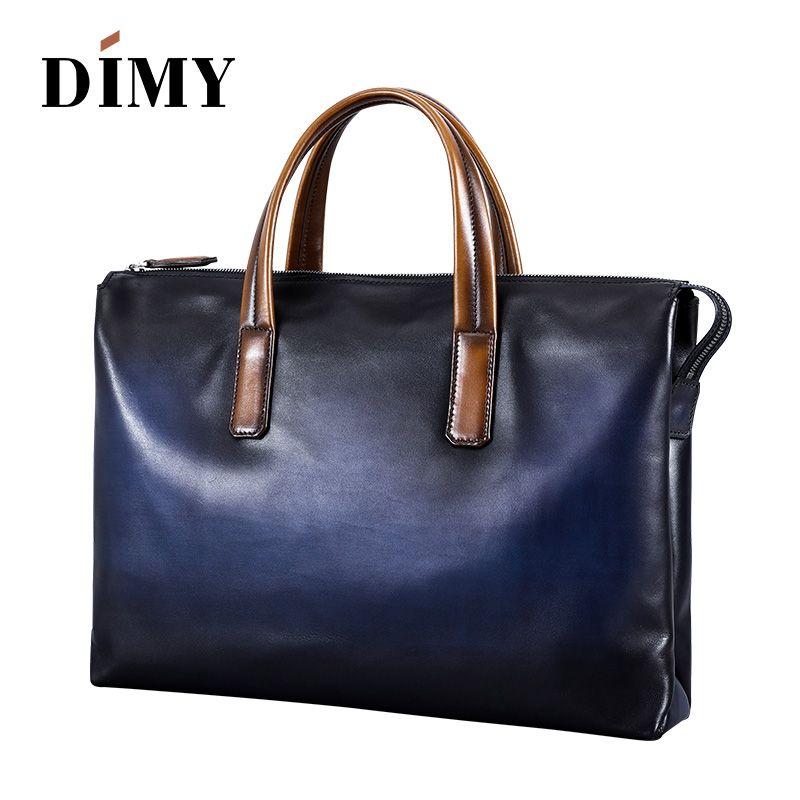 DIMY Handgemachte Italienische Echtem Leder Aktentasche Männer Business Case OL Stil Hand Patina Messenger Schulter Taschen Laptop männer Taschen