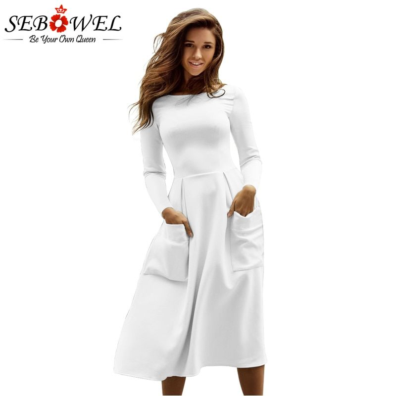 Sebowel Winter Round Neck Casual Long Dress Women Black Big Pocket Skater Dress Long Sleeve Pleated A Line Dresses Robe Femme