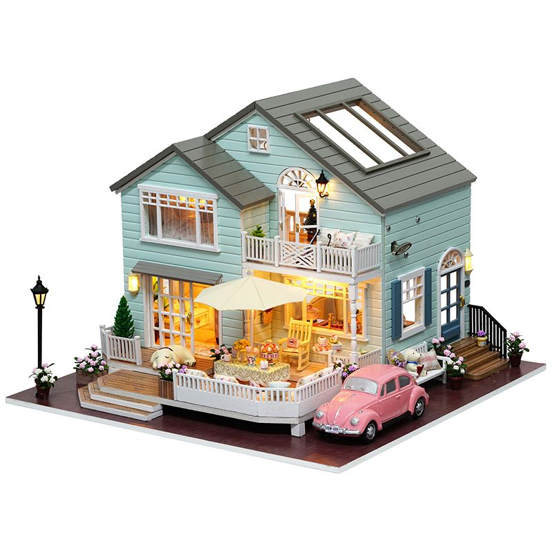 DIY Wooden House Miniaturas with Furniture DIY Miniature House Dollhouse Toys for Children Christmas and Birthday Gift A035