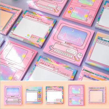 1X Kawaii Ordinateur jeu machine forme Collant Notes Posté Bloc-Notes Fournitures Scolaires Planificateur Autocollants Papier Signets Papeterie