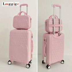 Hello Kitty bolso del equipaje, niños mujeres maleta, ABS de dibujos animados caja de viaje, carro rodante bolsa Hardcase, 20