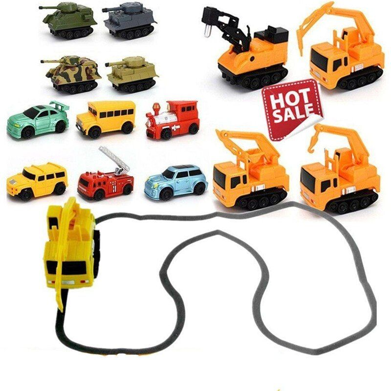 Original Inductive Car Diecast Vehicle Magic Pen Toy Tank Truck Excavator Construt Follow Any Line You Draw Xmas Gifts for Kid