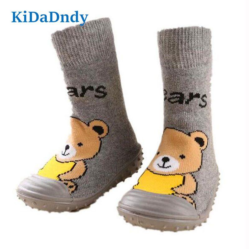 Kidadndy ours bébé chaussettes nouveau-né enfant en bas âge chaussures de sol intérieur anti-dérapant coton bébé chaussettes avec semelles en caoutchouc chaussettes pour bébés Ws925LL