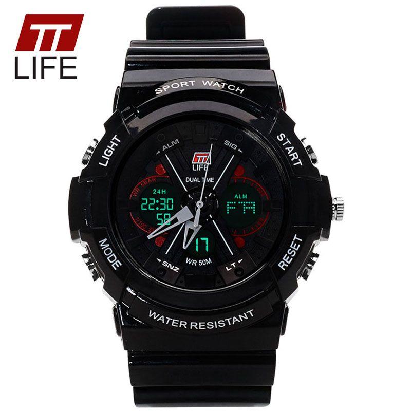 TTLIFE цифровой аналоговые часы мужчины женщины LED электронные день 30 м погружения армии г Тип спортивные часы Relogio feminino женские белые