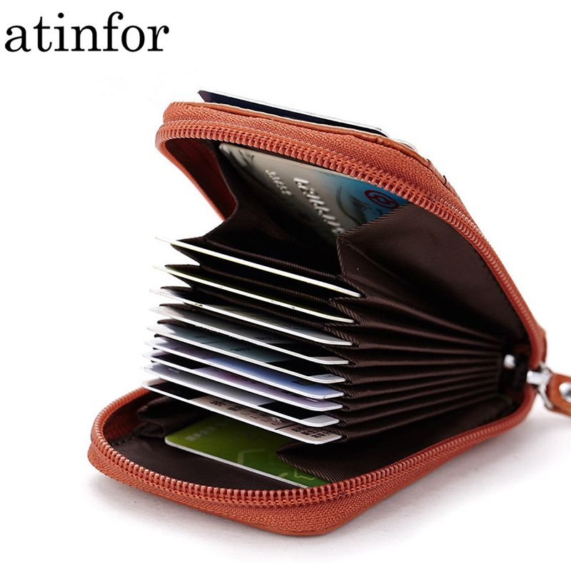 Tracking Number Leather Small Credit Card Holders Wallet Card Case Holder Organizer