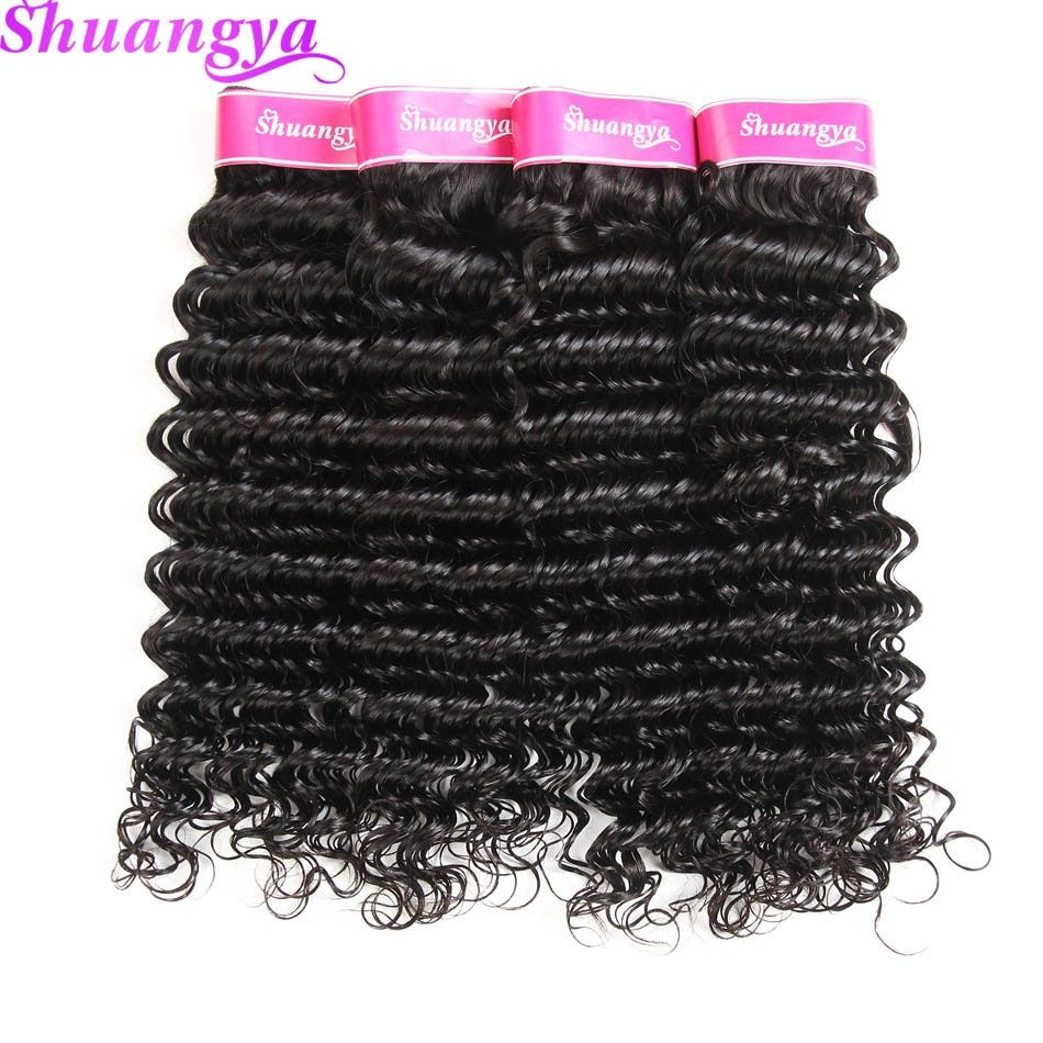 Shuangya hair Deep Wave Brazilian Hair Weave Bundles 8-28Inch Hair extensions Brazilian Human Hair Bundles Natural Color nonRemy