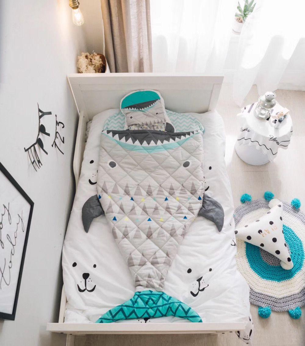 150cm Kids Sleeping Bag Mermaid Tail Shark Crocodile Astronaut Kids Blanket Baby Room Kids Bedding set Photography Props Blanket