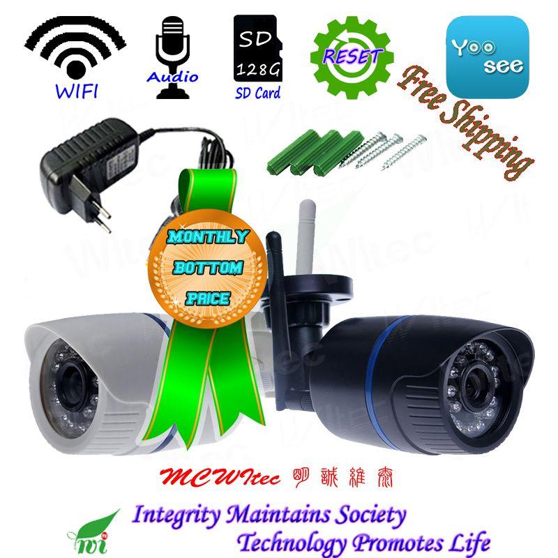 YOOSEE WIFI 128G carte SD 1080 P IR balle ONVIF alarme de sécurité vue de nuit P2P IP Cam réinitialiser CCTV Audio montre Mobile extérieure