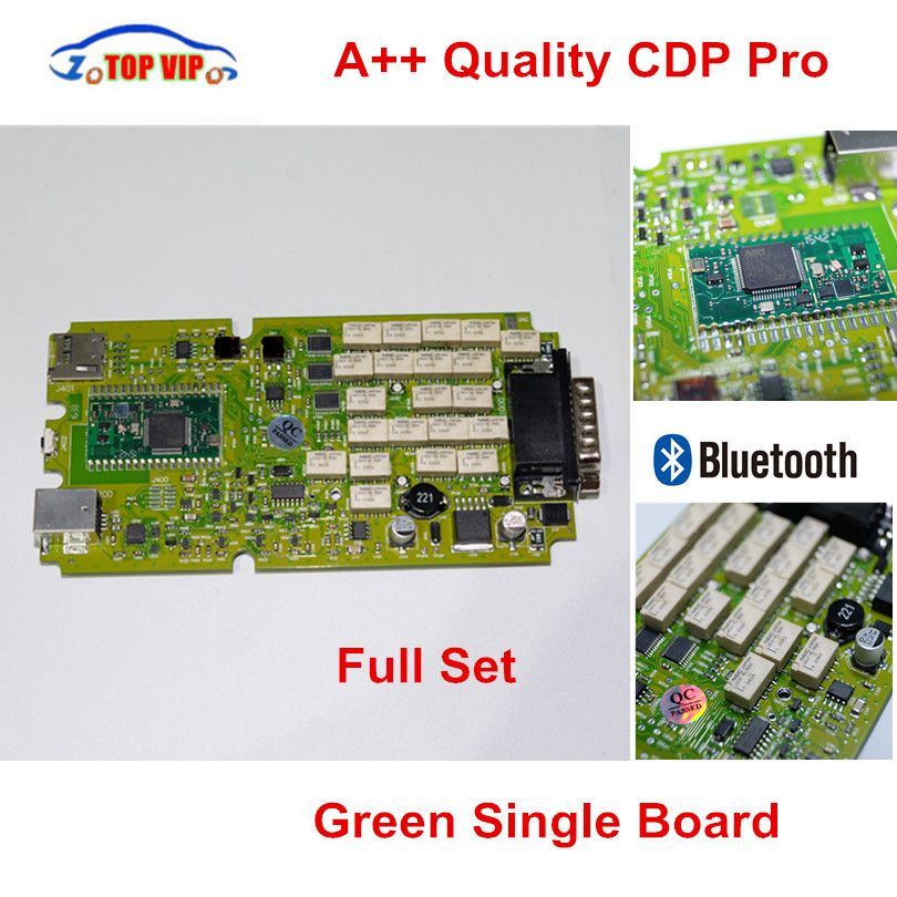 A++ Quality Green Single Board CDP PRO Low Price TCS CDP bluetooth 2014R2/2015R3/2015.1 Software New VCI TCS CDP Pro Scanner