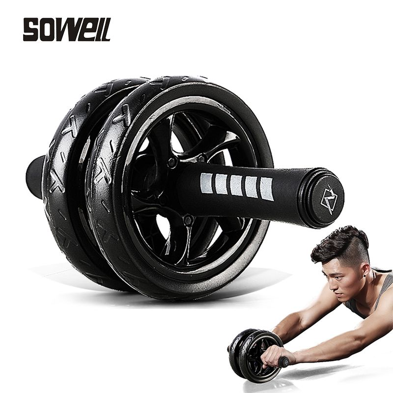 2019Muscle Exercise Equipment Home Fitness Equipment Double Wheel Abdominal Power Wheel Ab Roller Gym Roller Trainer Training